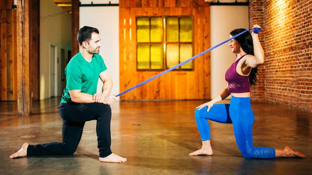 "Matt Stevens & MacKenzie Miller's ""Shoulder Pain Relief"" Online Video Workouts on Alo Moves"